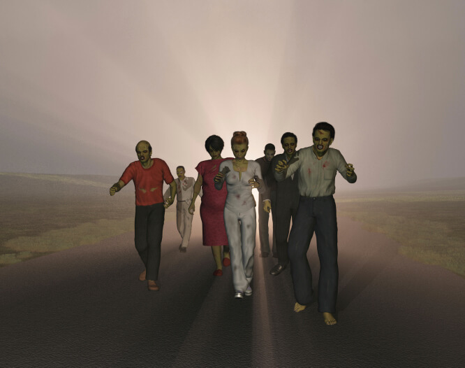 Zombies walking on a road