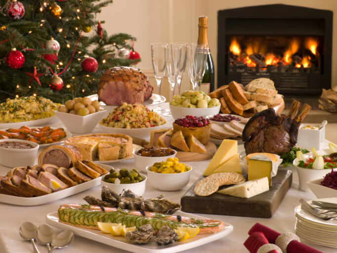 Christmas Brunch Party Ideas Part - 21: Boxing Day Buffet Lunch Christmas Tree And Log Fire
