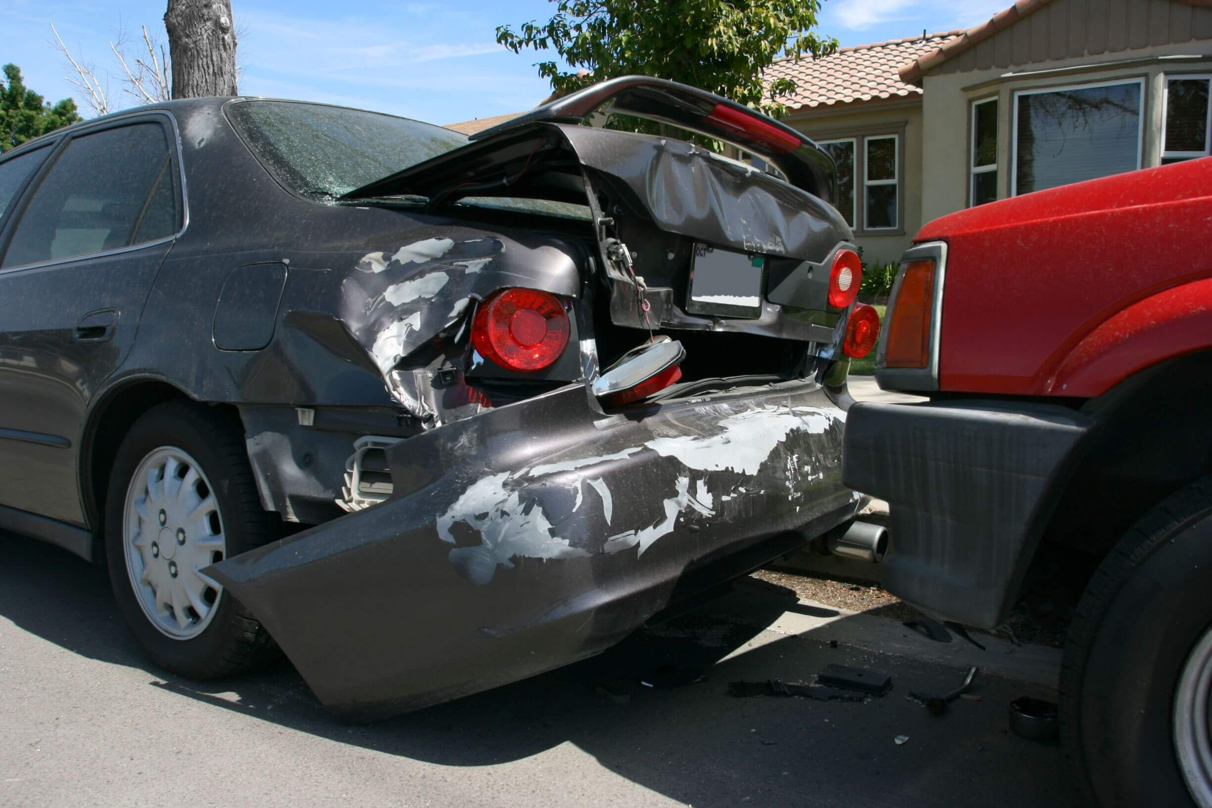 Vehicle that has been involved in a rear-end collison