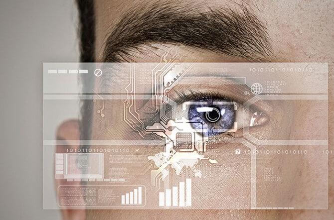 Scanning a man's eye