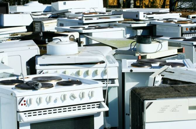 Appliances sitting in a lot