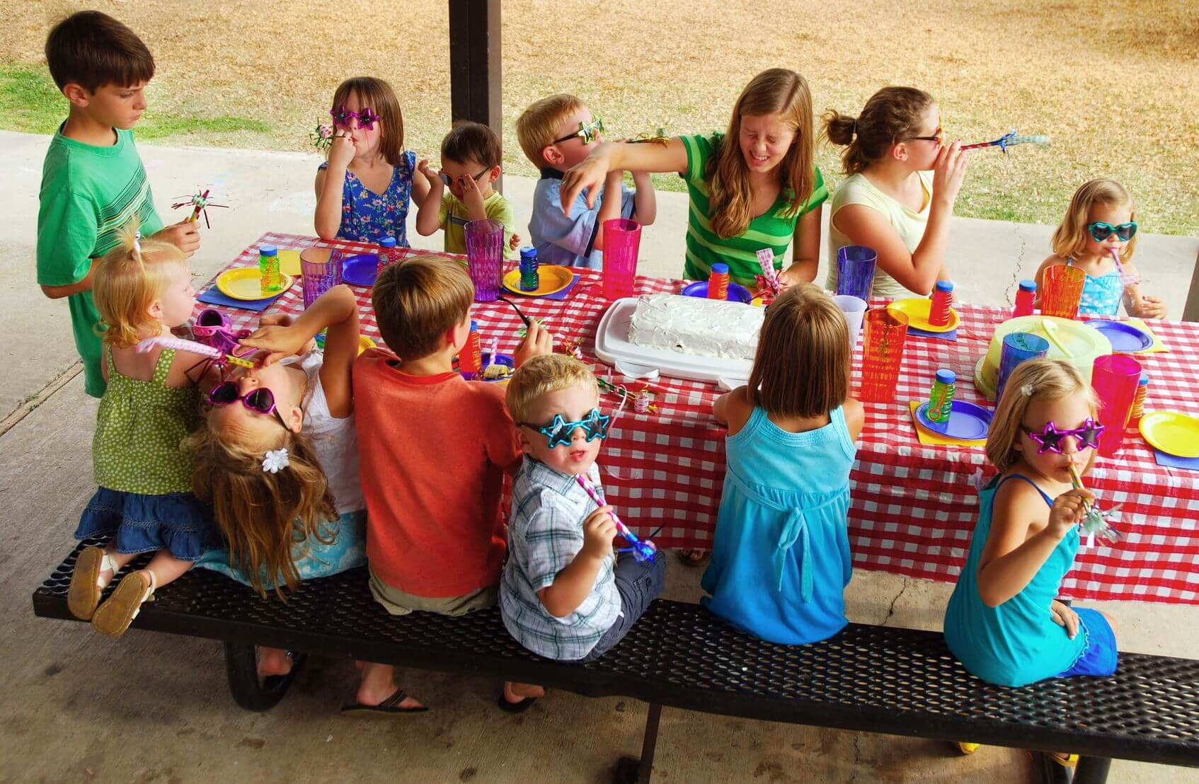 people at picnic table
