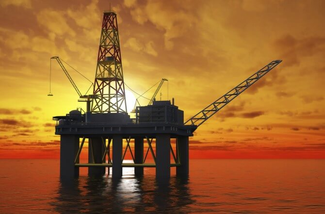 Offshore oil rig in ocean