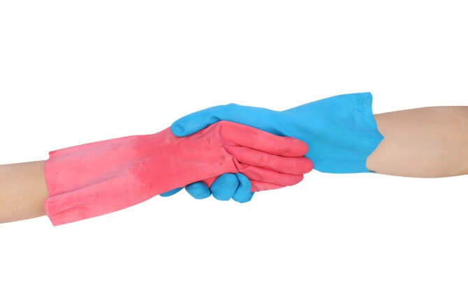 red and blue rubber gloves