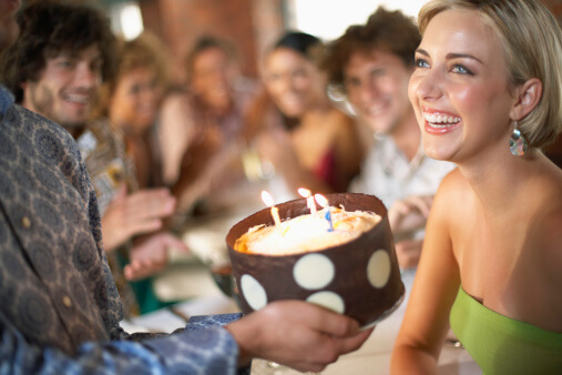Young Woman Celebrating a Birthday