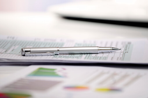 FInancial statements lying on a desk
