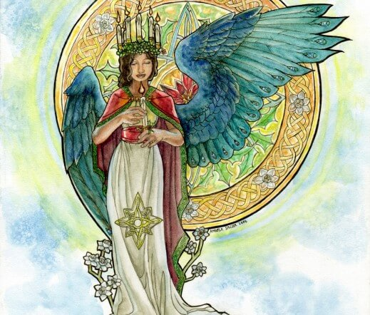 Saint Lucia Inspired Angel with Candle Crown and Stained Glass