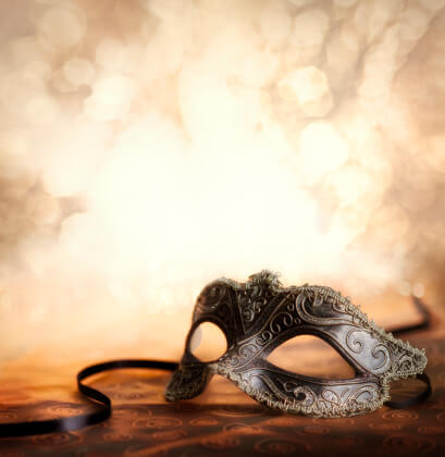 masquerade masks on table