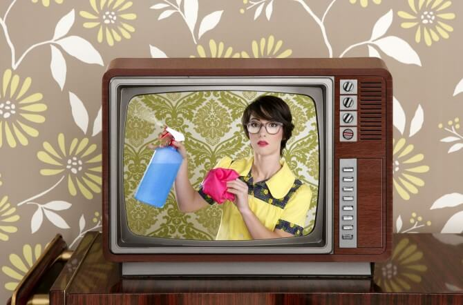 maid on vintage tv