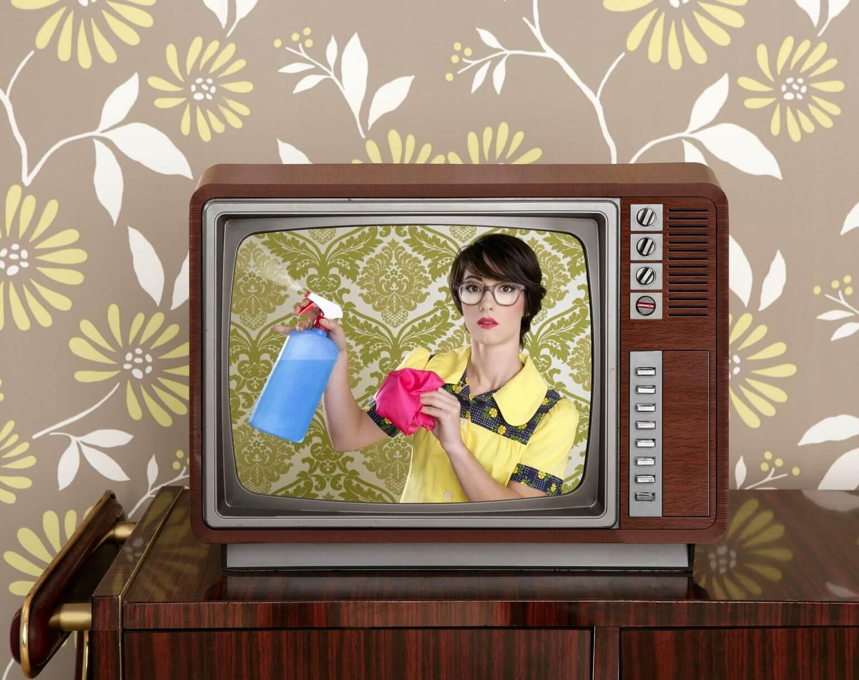 maid on vintage tv