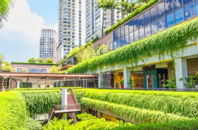 Ecologic building shopping mall in Sao Paulo, Brazil