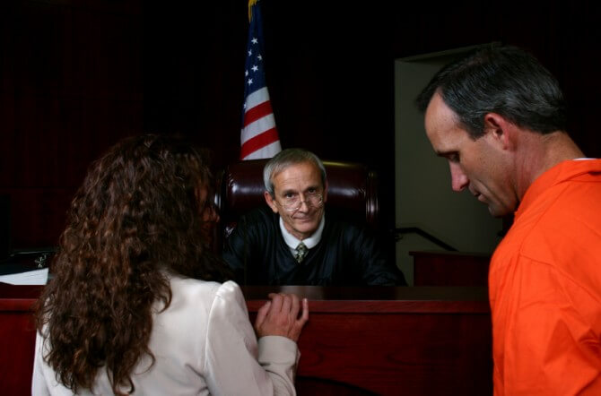 Defendant with attorney and judge