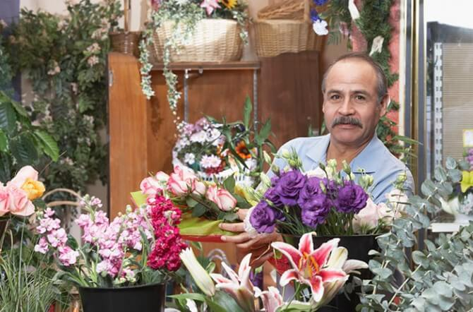 male florist with flowers