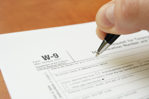 Finance concept with W9 TIN tax form