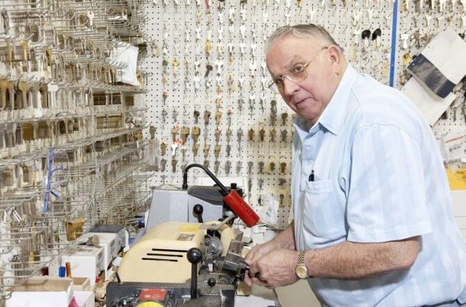 senior man in room of keys