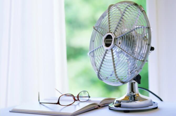 electric fan and book