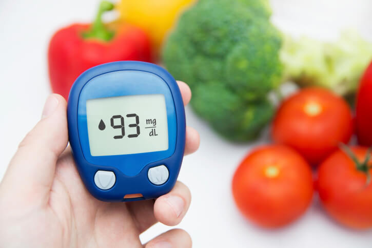 Glucose level test with vegetables background