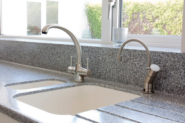 kitchen mixer tap and sink