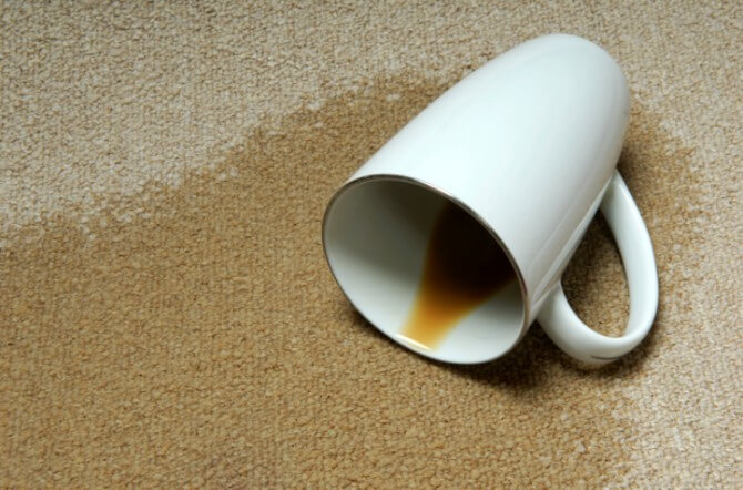 Coffee spilled on carpet
