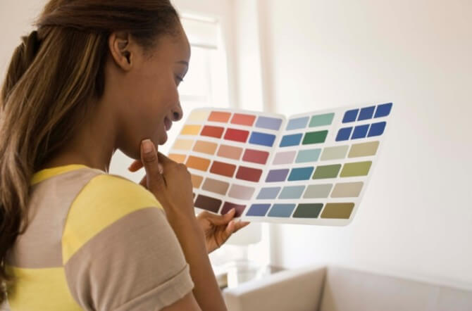 Woman with swatches