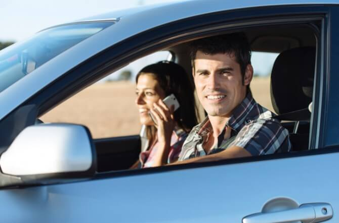 Couple on car travel