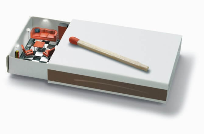 Room with sofa and chairs in matchstick box (Digital)