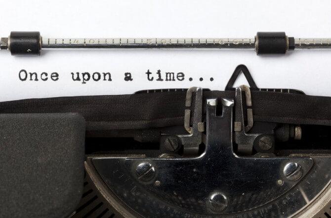 "typewriter typing ""Once upon a time..."""