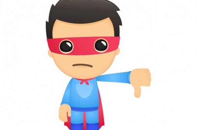 thumbs down superhero