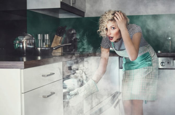 Creative photo of a astonished woman cook frying
