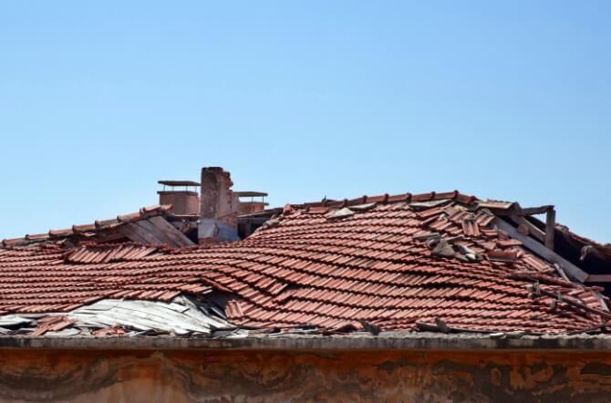 broken brown roof