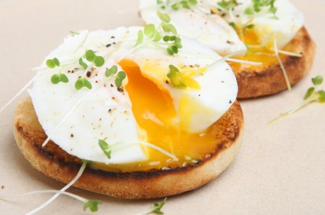 Poached Eggs on Toasted English Muffin