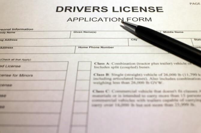 drivers license application black pen