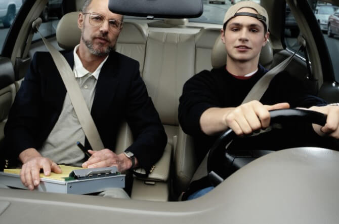 teen driver with instructor