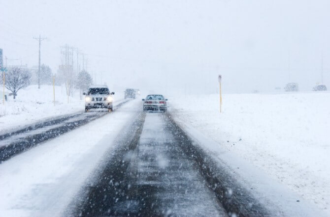 frozen asphalt road